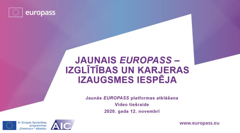 """Video tiešraides """"Jaunais EUROPASS – izglītības un karjeras izaugsmes iespēja"""" pirmā kadra ekrānšāviņš"""
