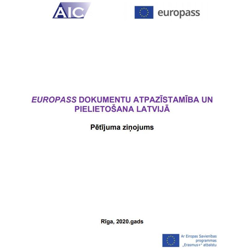 """Publikācijas """"Europass dokumentu atpazīstamību un pielietošanu Latvijā"""" pirmās lapas ekrānšāviņš"""